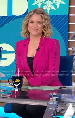 Sara's pink button-sleeve blazer on Good Morning America