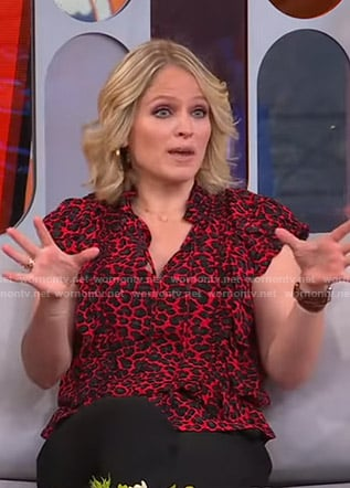 Sara's red leopard print top on GMA Strahan Sara And Keke