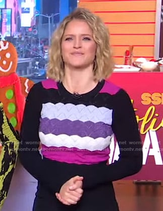 Sara's scalloped striped sweater on GMA Strahan Sara And Keke
