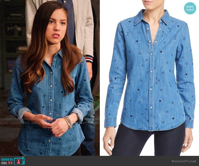 Scotch & Soda Heart Embroidered Denim Shirt worn by Nini (Olivia Rodrigo) on High School Musical The Musical The Series