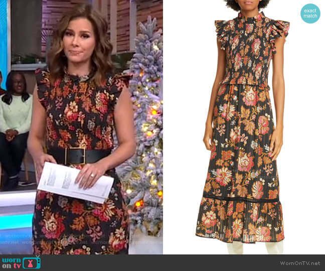 Pascale Floral Smocked Cotton Midi Dress by Sea worn by Rebecca Jarvis  on Good Morning America