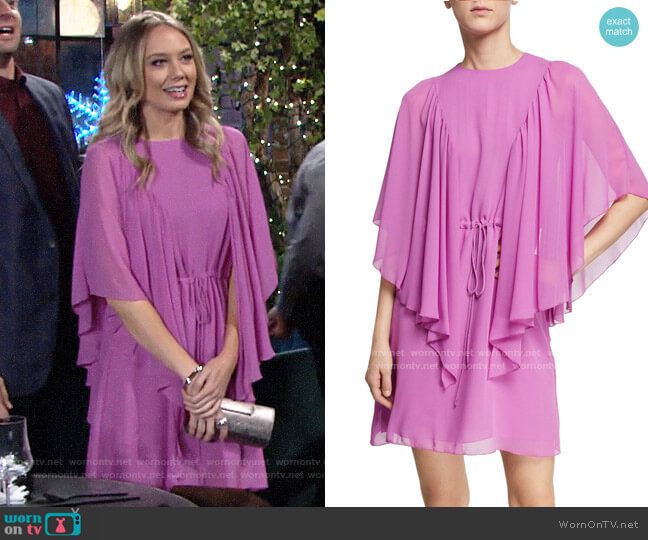 See by Chloe Ruffled Tie-Waist Cape-Sleeve Short Dress worn by Abby Newman (Melissa Ordway) on The Young & the Restless