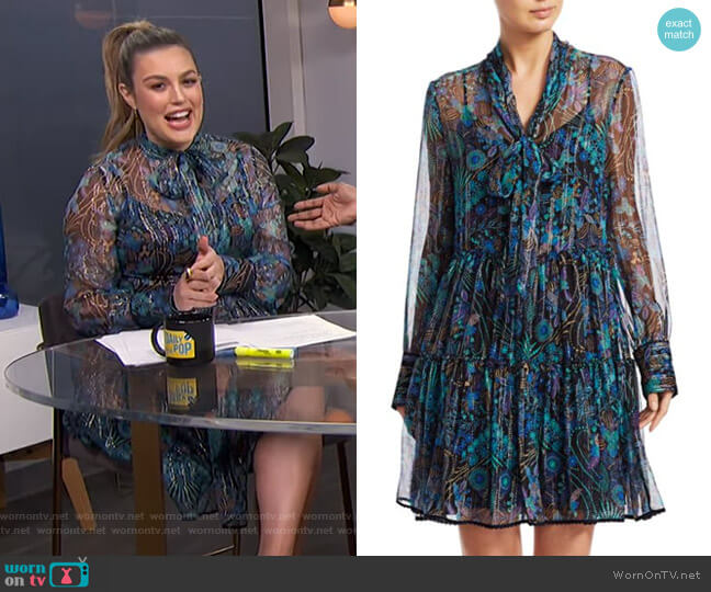 Floral Tie-Neck Chiffon-Silk Long-Sleeve Mini Shirtdress by See by Chloe worn by Carissa Loethen Culiner  on E! News