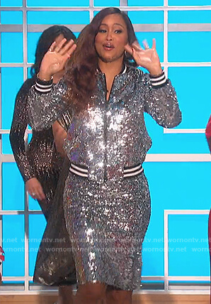 Eve's sequin bomber jacket and skirt on The Talk