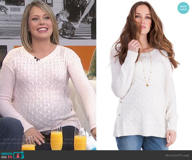 Cable Knit Maternity & Nursing Sweater by Seraphine worn by Dylan Dreyer  on Today