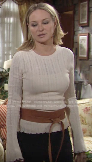 Sharon's pointelle sweater with ruffled cuffs on The Young and the Restless