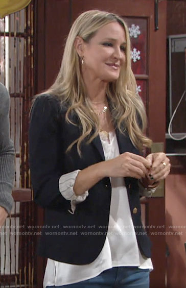Sharon's lace-trim cami on The Young and the Restless