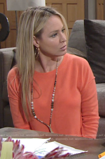 Sharon's orange sweater on The Young and the Restless
