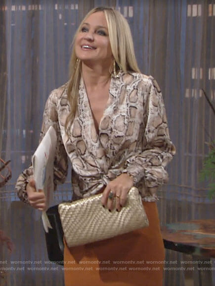 Sharon's snake print blouse on The Young and the Restless
