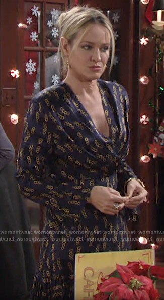 Sharon's navy chain print dress on The Young and the Restless