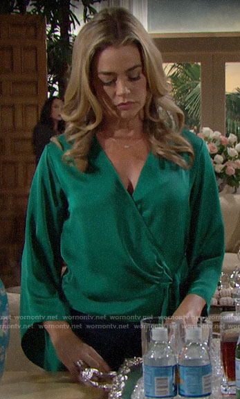 Shauna's green wrap blouse on The Bold and the Beautiful