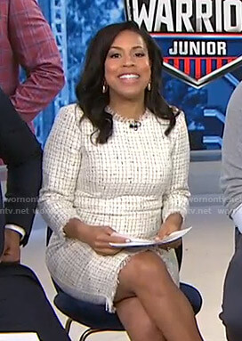 Sheinelle's white tweed dress on Today