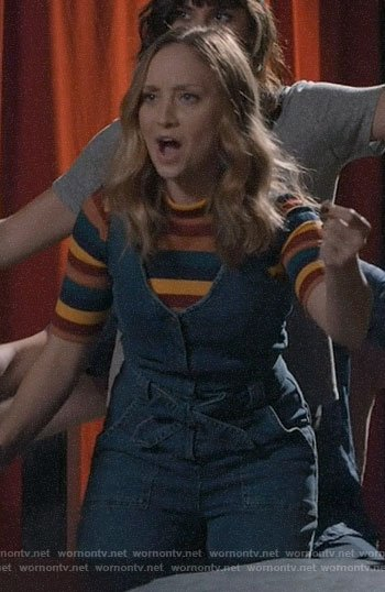 Sherry's striped top and denim jumpsuit on Modern Family