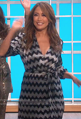 Carrie's metallic zig-zag wrap dress on The Talk