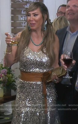 Kelly's silver sequin dress on The Real Housewives of Orange County