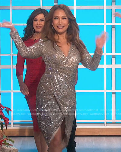 Carrie's sequin wrap dress on The Talk