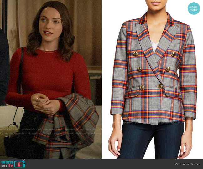Smythe Mini Double-Breasted Plaid Blazer worn by Cara Bloom (Violett Beane) on God Friended Me