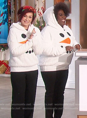 Sheryl's white ugly chrismas sweater on The Talk