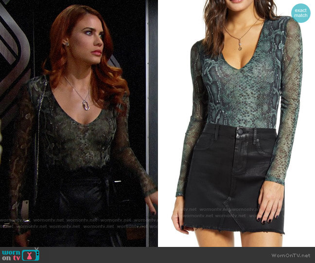 Socialite Mesh V-Neck Bodysuit worn by Sally Spectra (Courtney Hope) on The Bold & the Beautiful