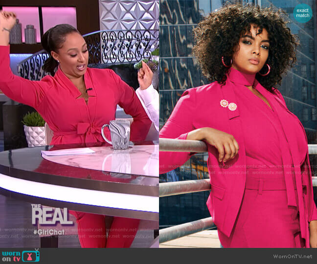 Soft Madie Blazer with Belt - 7th Avenue by New York & Company worn by Tamera Mowry  on The Real