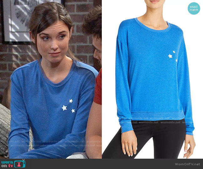 Spiritual Gangster Savasana Stars Sweatshirt worn by Willow Tait (Katelyn MacMullen) on General Hospital