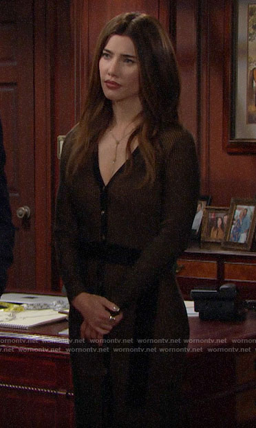 Steffy's ribbed button front dress on The Bold and the Beautiful