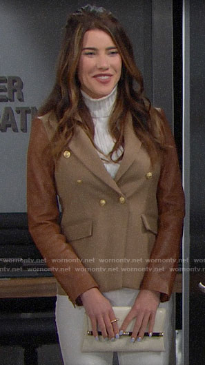 Steffy's tan leather sleeve blazer on The Bold and the Beautiful