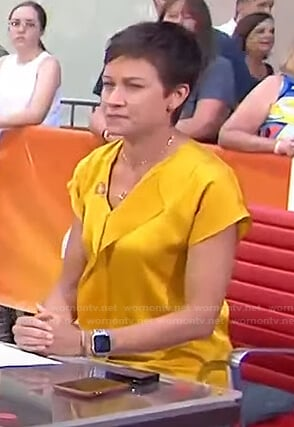 Stephanie's yellow v-neck satin top on Today