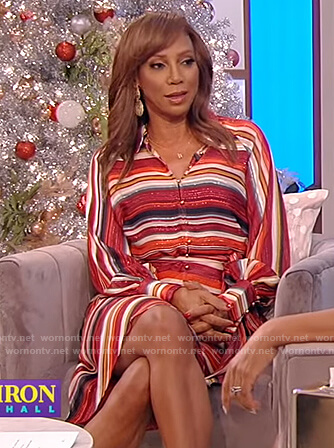 Holly Robinson Peete's striped tie blouse and skirt on the Tamron Hall Show