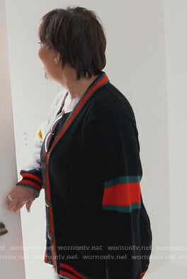 Kris stripe trim cardigan on Keeping Up with the Kardashians
