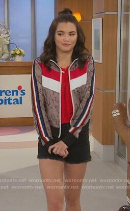 Alexa's snakeskin print track jacket on Alexa & Katie