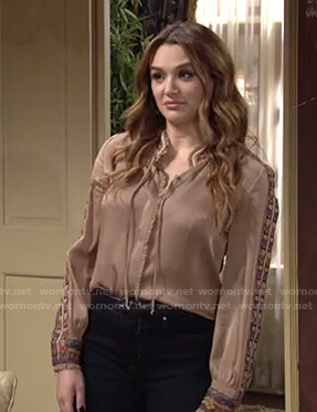 Summer's beige embroidered trim blouse on The Young and the Restless