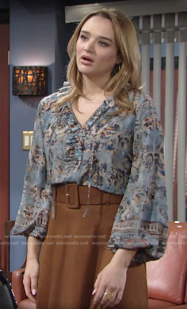 Summer's blue printed blouse on The Young and the Restless