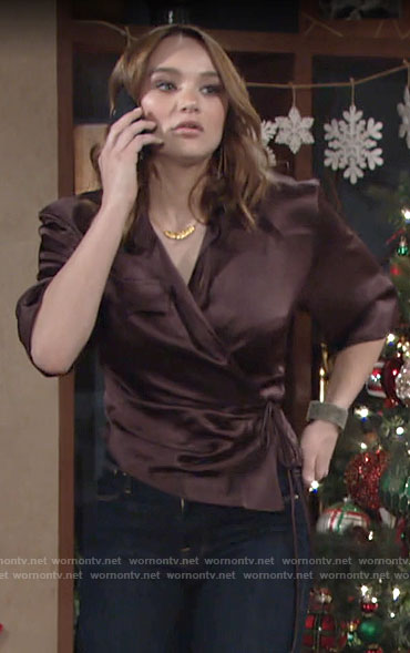 Summer's brown wrap top on The Young and the Restless