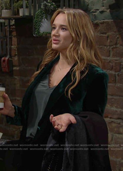 Summer's green velvet blazer and lace-trim top on The Young and the Restless