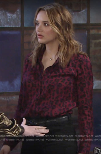 Summer's purple leopard blouse on The Young and the Restless