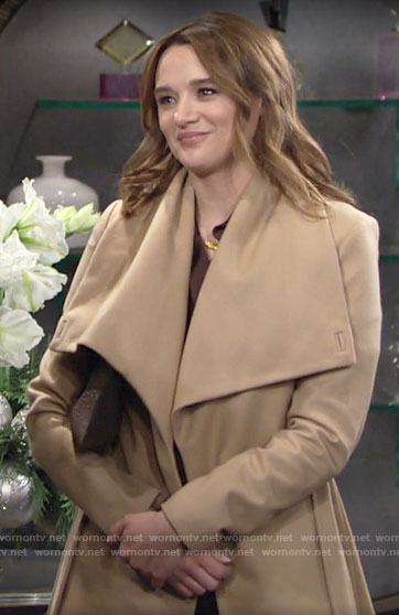 Summer's short camel wrap coat on The Young and the Restless