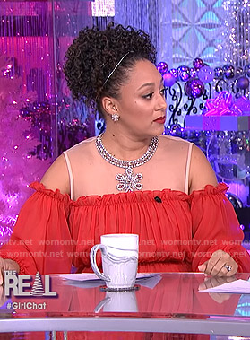 Tamera's red cold-shoulder embellished dress on The Real