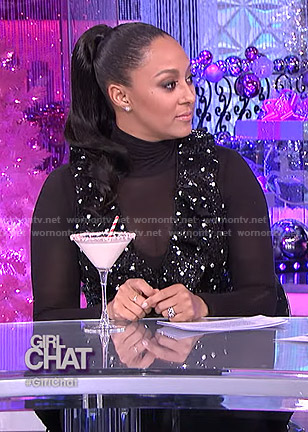 Tamera's sequin polka dot dress on The Real