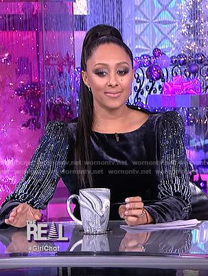 Tamera's sequined sleeve velvet dress on The Real
