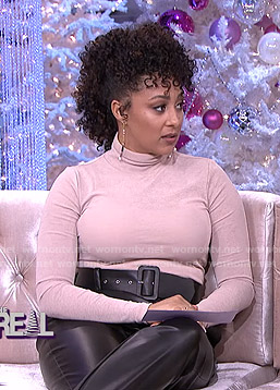 Tamera's turtleneck sweater and black belted leather pants on The Real