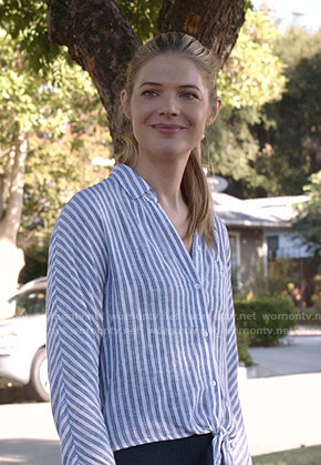Tami's blue and white striped tie front shirt on Shameless