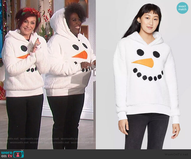 Sherpa Hooded Snowman Ugly Holiday Sweatshirt by Target worn by Sharon Osbourne  on The Talk