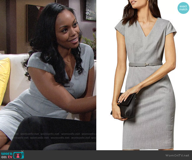 Ted Baker Michahd Belted Sheath Dress worn by Amanda Sinclair (Mishael Morgan) on The Young & the Restless