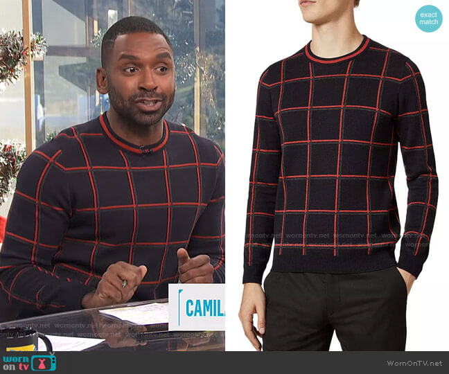 Triton Check Crewneck Sweater by Ted Baker worn by Justin Sylvester  on E! News