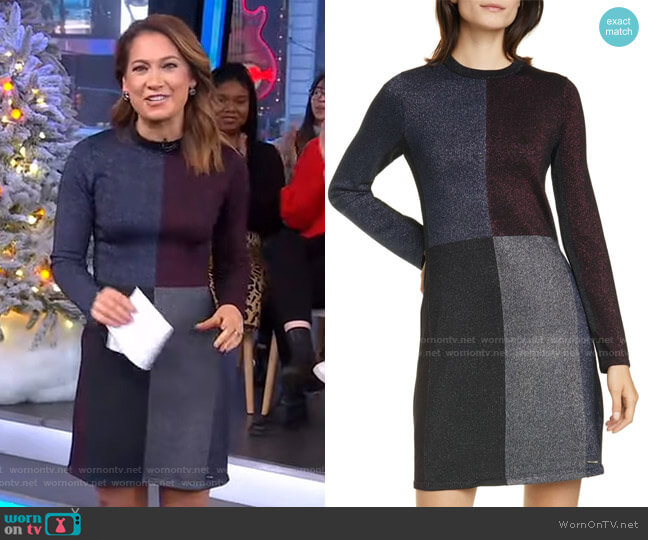 Redlo Metallic Long Sleeve Sweater Dress by Ted Baker worn by Ginger Zee  on Good Morning America