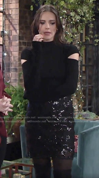 Tessa's black cutout sleeve top and sequin skirt on The Young and the Restless