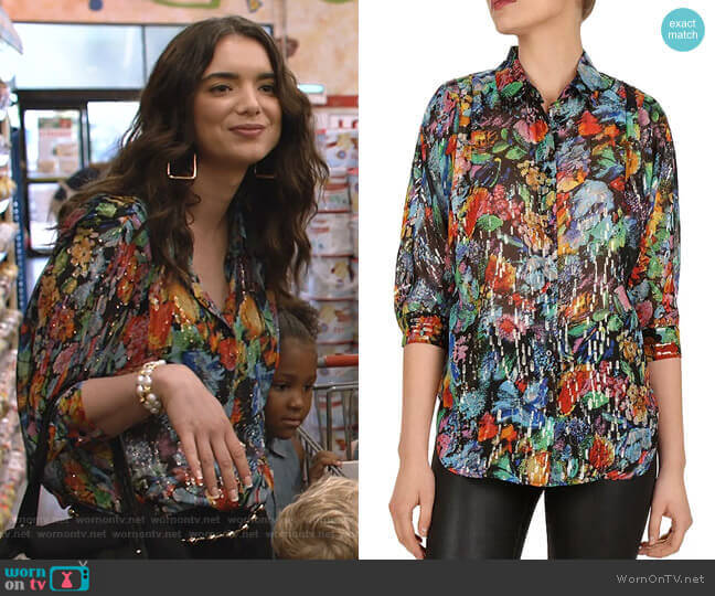 Metallic Floral Blouse by The Kooples worn by Dylan Gelula