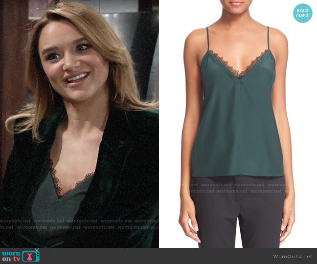 The Kooples Lace Trim Crepe de Chine Camisole worn by Summer Newman (Hunter King) on The Young & the Restless