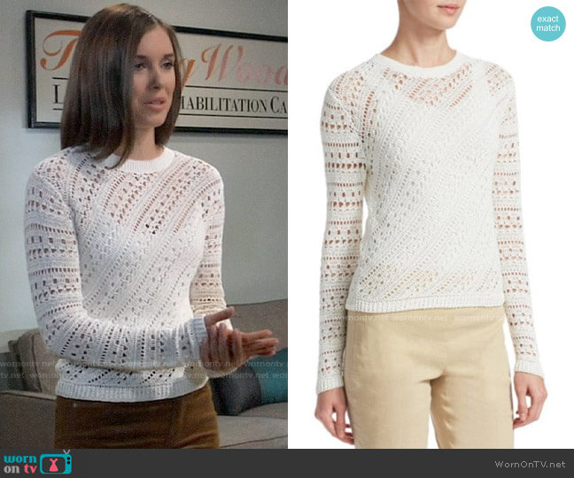 Theory Crochet Crewneck Sweater worn by Willow Tait (Katelyn MacMullen) on General Hospital
